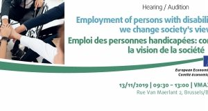 Poster of EESC hearing Employment of Persons with disabilities: how can we change society's view