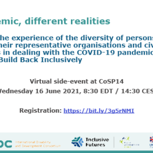 Banner for the CoSP side-event featuring the title of the event as well as practical information such as reistration link, date and time